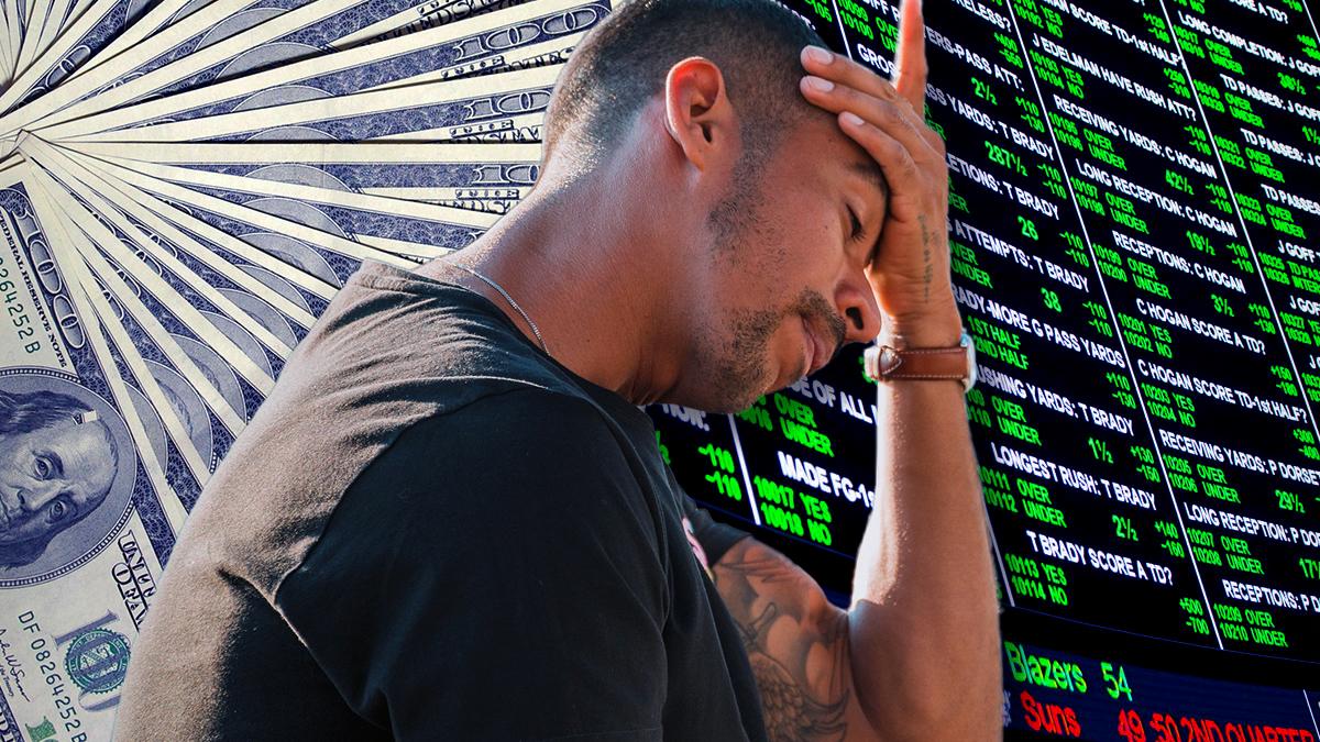 Pria Frustrasi Dengan Latar Belakang Uang dan Sportsbook